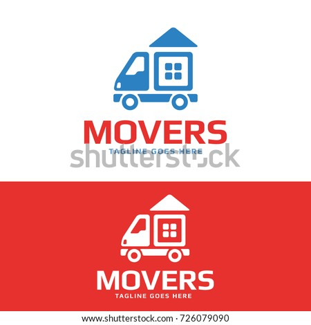 addd3dc00ed385 High quality logo concept features a moving van with the house on it. Great  logo for removal service or delivery company. Stock vector logotype. -  Vector