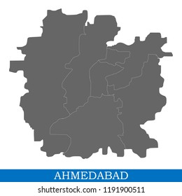 High Quality map of Ahmedabad is a city of India, with borders of districts