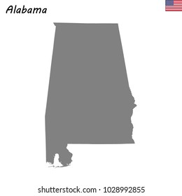 High Quality map of Alabama is a state of United States