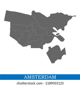 High Quality map of Amsterdam is a city of Netherlands, with borders of the districts