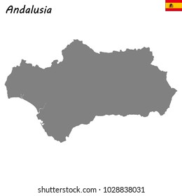 High Quality map of Andalusia is a autonomous community of Spain