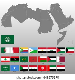 High quality map of Arab World with borders of the states, Flags of the 22 Arabic speaking countries