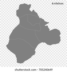 High Quality map of Ardahan is a province of Turkey, with borders of the Districts