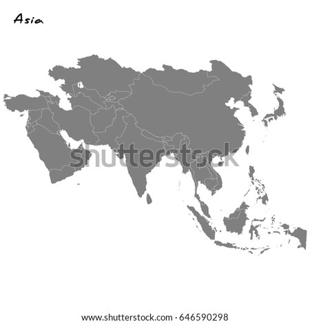 High Quality Map Asia Borders Regions Stock Vector (Royalty Free ...