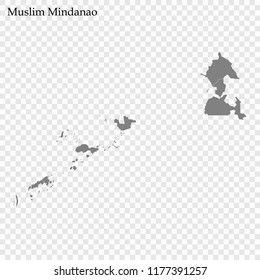 High Quality map of Autonomous Region in Muslim Mindanao is a region of Philippines, with borders of the provinces
