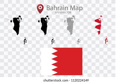 High quality map of Bahrain with black dots and Flag map,on transparent background.Vector eps 10