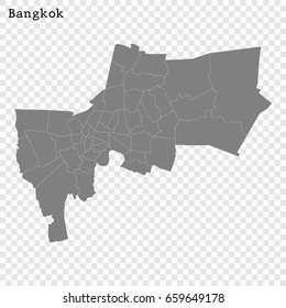 High Quality map of Bangkok is a city of Thailand, with borders of the regions
