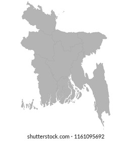 High quality map of Bangladesh with borders of the regions on white background