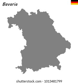 High Quality map of Bavaria is a state of Germany