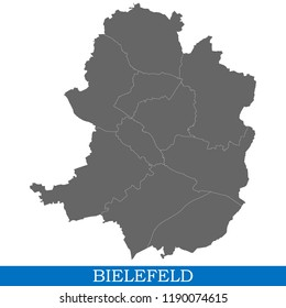 High Quality map of Bielefeld is a city of Germany, with borders of districts