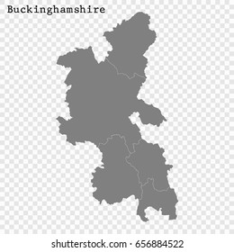 High Quality map of Buckinghamshire is a ceremonial county of England, with borders of the counties
