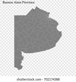 High Quality map of Buenos Aires province is a district of Argentina with borders of the departments