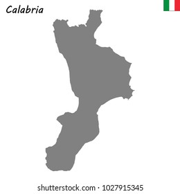 High Quality map of Calabria is a region of Italy