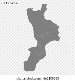 High Quality map of Calabria is a region of Italy, with borders of the provinces