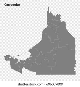 High Quality map of Campeche is a state of Mexico, with borders of the municipalities
