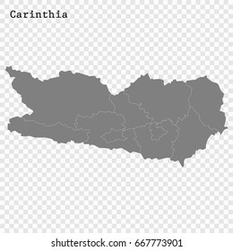 High Quality map of Carinthia is a state of Austria, with borders of the counties