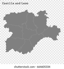 High Quality map of Castile and León is a region of Spain, with borders of the regions