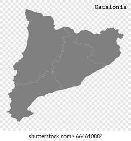 High Quality map of Catalonia is a region of Spain, with borders of the regions.