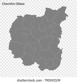High Quality map of Chernihiv Oblast is a province of Ukraine, with borders of the regions