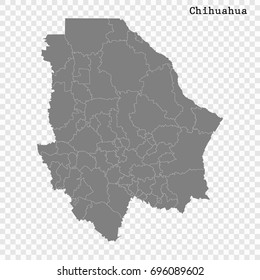 High Quality map of Chihuahua is a state of Mexico, with borders of the municipalities