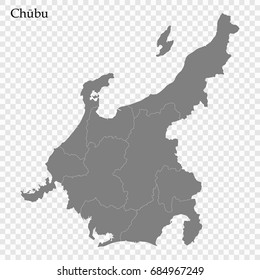 High Quality map of Chubu is a region of Japan, with borders of the prefectures