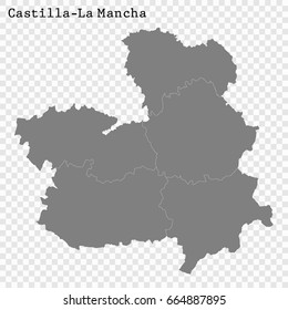 High Quality map of Community of Madrid is a region of Castilla-La Mancha, with borders of the regions