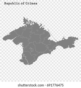 High Quality map of Crimea is a region of Russia with borders of the districts