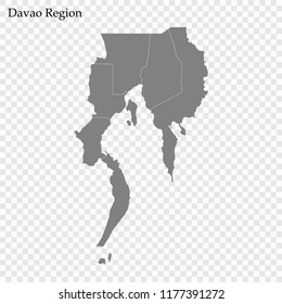 High Quality map of Davao Region is a region of Philippines, with borders of the provinces