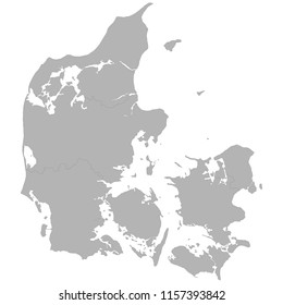 High quality map of Denmark with borders of the regions on white background