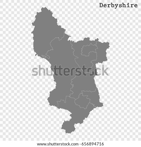 Map Of England Derbyshire.High Quality Map Derbyshire Ceremonial County Stock Vector Royalty
