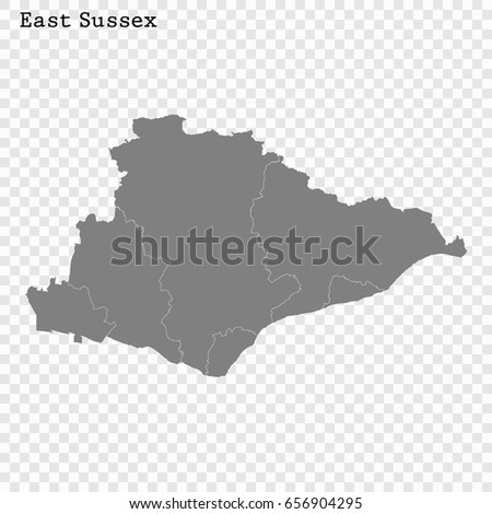 High Quality Map East Sussex Ceremonial Stock Vector Royalty Free