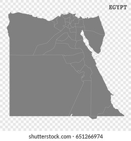 High quality map of Egypt with borders of the regions or counties