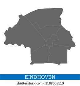 High Quality map of Eindhoven is a city of Netherlands, with borders of the districts