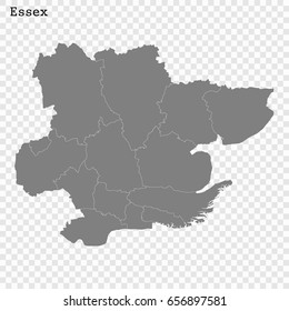 High Quality map of Essex is a ceremonial county of England, with borders of the counties