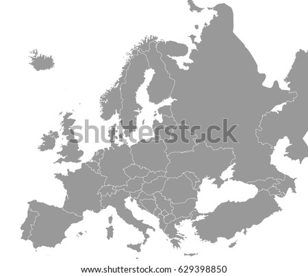 High Quality Map Europe Borders Regions Stock Vector Royalty Free