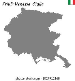 High Quality map of Friuli-Venezia Giulia is a region of Italy