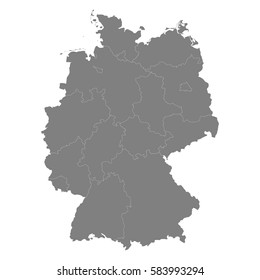 high quality map of germany with borders of the regions
