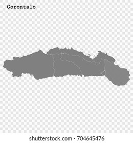 High Quality map of Gorontalo is a province of Indonesia, with borders of the regency