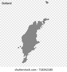 High Quality map of Gotland is a county of Sweden, with borders of the Municipalities