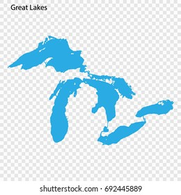 High quality map of the Great Lakes of North America.