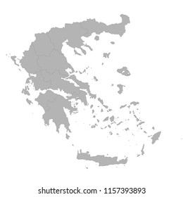 High quality map of Greece with borders of the regions on white background