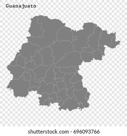 High Quality map of Guanajuato is a state of Mexico, with borders of the municipalities