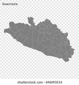 High Quality map of Guerrero is a state of Mexico, with borders of the municipalities