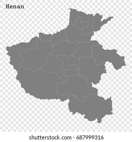 High Quality map of Henan is a province of China, with borders of the divisions