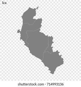 High Quality map of Ica is a province of Peru, with borders of the provinces