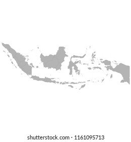 High quality map of Indonesia with borders of the regions on white background
