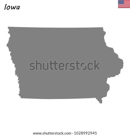 High Quality Map Iowa State United Stock Vector (Royalty Free ...