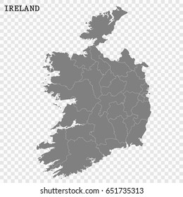 High quality map of Ireland with borders of the regions or counties