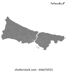 High quality map of Istanbul with borders of the regions