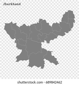High Quality map of Jharkhand is a state of India, with borders of the districts